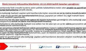 İLİMİZ HIFZISSIHHA MECLİSİNİN  10.12.2020 TARİHLİ KARARLARI